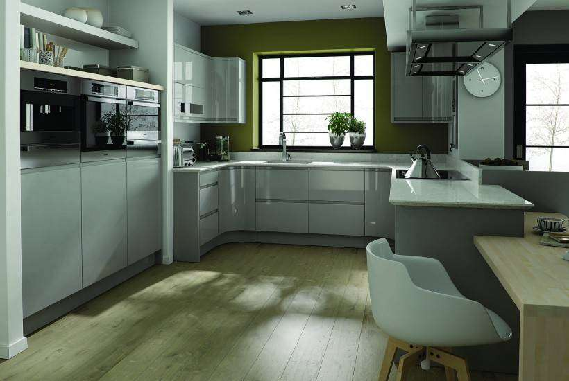 Contemporary Kitchen in Teal and White - Kitchen designers in Derby