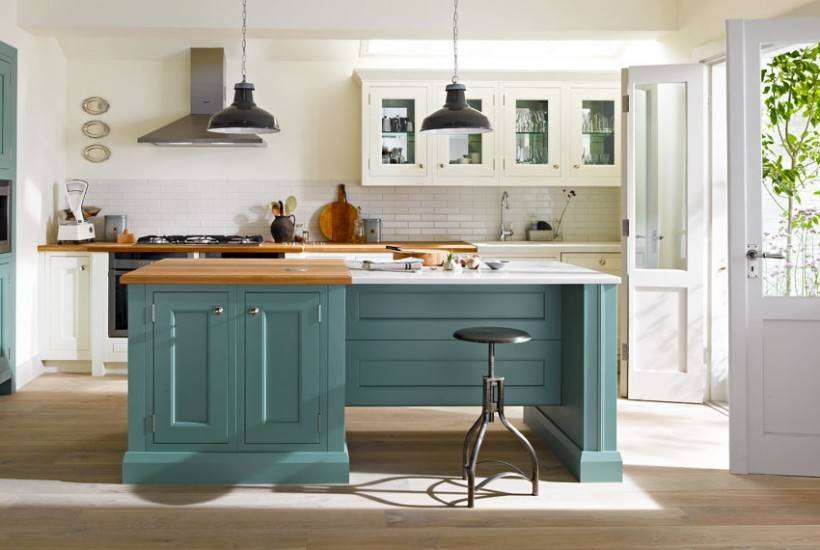Contemporary Kitchen in Teal and White
